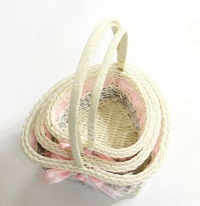 3PCS/Set Pink Flower Basket/Decoration Basket with Handle&Bowsupplier: pictures & photos