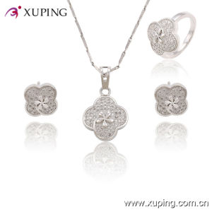 63760 Fashion Rhodium Lace Cubic Zirconia Jewelry Set pictures & photos