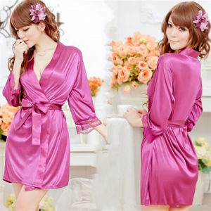 Sexy Women Satin Lace Robe Sleepwear Lingerie Nightdress G-String Pajamas pictures & photos