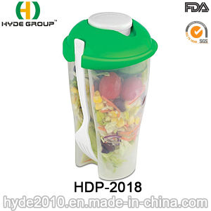 High Quality Plastic Salad Shaker Cup with Fork (HDP-2018) pictures & photos