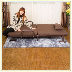 Portable Wheeled Bed with Brown Mattress 190*120cm/Rollaway Folding Bed pictures & photos