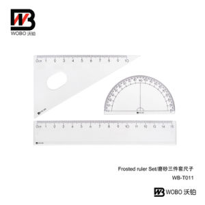 3 in 1 Frosted Plastic Ruler Set for Student Office Stationery