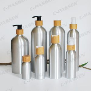 Aluminum Cosmetic Bottle with Bamboo Lotion Spray Pump (PPC-ACB-043) pictures & photos
