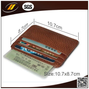 Genuine Calf Leather Slim Credit Card Coin Holder with Button (HJ8107) pictures & photos