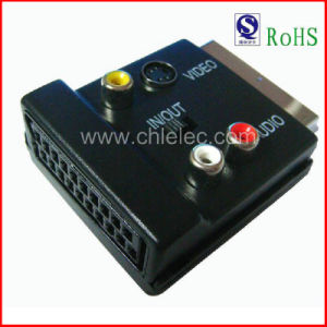Scart Plug to Scart Jack and 3RCA Jack Mini 4p Jack with Switch (SH3024) pictures & photos