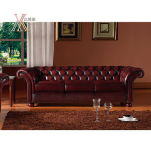 Antique Style Leather Sofa Set (S12) pictures & photos