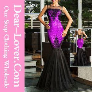 Purple Sequin Applique Evening Party Mermaid Dress pictures & photos