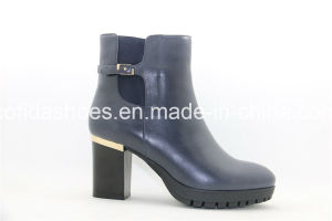 Fashion High Chunky Heel Women Leather Boots pictures & photos