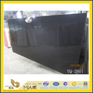 Artificial Marble Pure Black Quartz Stone Slabs pictures & photos