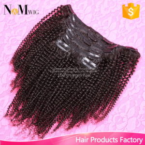 Kinky Curly Clip in Human Hair Extensions Dubai 7PCS/Set Brazilian African American Clip on Human Hair Extensions Clip Ins pictures & photos