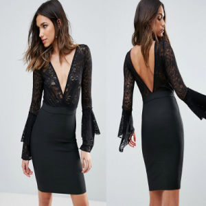V Neck Women Casual Fashion Dress Long Sleeve Knitted Dress pictures & photos