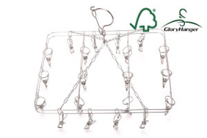 New Design Foldable Sock / Underwear Drying Metal Hanger with 20 Clips ((GLMH15) pictures & photos