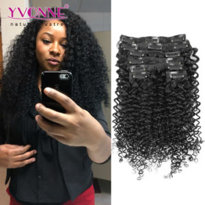 Grade 7A Brazilian Clip in Curly Hair Extensions pictures & photos