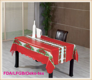 PVC Printed Tablecloth with Christmas Style (TJ0760) pictures & photos