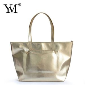 2016 Gold and Black PU Leather Ladies Tote Handbag pictures & photos