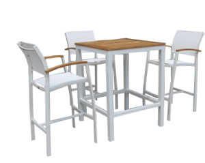 Outdoor Hotel Cub Bar Furniture Set with Stack Bar Stool Teak Table Top White Sling Textilene Back pictures & photos
