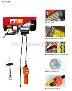 220V PA Mini Electric Wire Rope Pulling Hoist Electric Winch pictures & photos