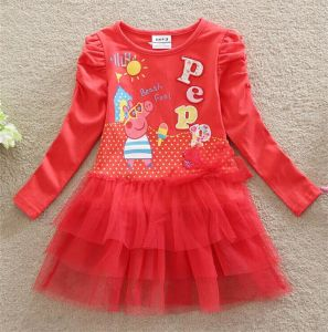Girls Fashion Lovely Printed Cotton Dress in Spring and Autumn/Cotton and Lace Princess Dress Kd1624 pictures & photos