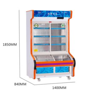 Double Temperature Three-Layer Sliding Glass Door Dish Oder Refrigerator pictures & photos