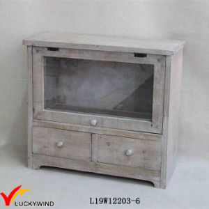 Vintage Farm Style 2 Tier Fir Wood Desktop Drawer Storage Cabinet pictures & photos