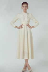 D1164 Stand Collar Long Sleeve Muslim Dress with Lace Ol Ladies pictures & photos