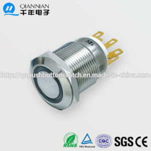 19mm 1no Nc/2no 2nc Resetable Self-Locking Flat Ring Illuminated IP67 Ik10 Push Button Switch pictures & photos