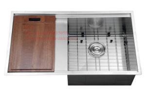 Stainless Steel Handmade Kitchen Sink, Sink, Stainless Steel Top Mount Single Bowl Kitchen Sink with Drain Board pictures & photos