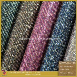 High Quatliy Two Tone Glitter PU Leather (SP014) pictures & photos
