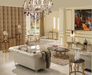 Gold Plating Design Square Glass Dining Table pictures & photos