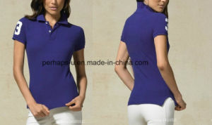 Pretty Women Cotton Pique Golf Polo Shirt pictures & photos