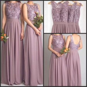 Purple Bridesmaid Prom Gowns Sexy 2016 Lace Chiffon Evening Dresses Y1024 pictures & photos