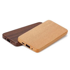 Thin 8000mAh Wooden Lithium Battery Portable Charger Power Bank with RoHS pictures & photos