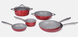 Granite and Red Aluminum Frying Pans with S/S Handles pictures & photos
