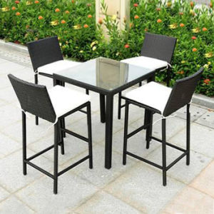 Outdoor Garden KTV Furniture High Foot Chairs Wicker Bar Bistro Rattan Chair Table Set pictures & photos