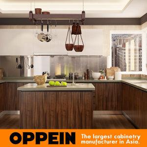 Oppein Modern Dark Wood Grain PVC U-Shape MDF Kitchen Cabinets (OP16-PVC06) pictures & photos