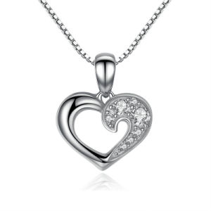 925 Sterling Silver Romantic Silver Heart Pendant Necklace pictures & photos