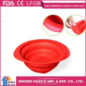 Silicone Collapsible Colander Foldable Silicone Fruit Strainer pictures & photos