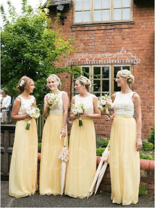 Light Yellow Daffodil Sleeveless Floor-Length Chiffon Appliques Bridesmaid Dress (Dream-100052) pictures & photos