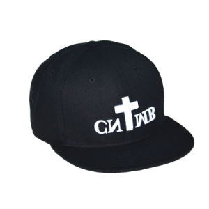 Custom Black 6 Panels Cotton Cap Snapback Man Hats pictures & photos