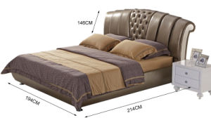 New Elegant Design Modern Genuine Leather Bed (HC1208) for Bedroom pictures & photos
