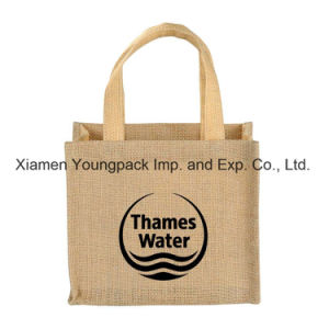 Wholesale Bulk Custom Promotional Two Tone Small Jute Wedding Tote Gift Bags pictures & photos