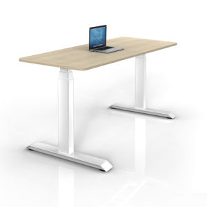 White Customized Metal Steel Electric Height Adjustable Office Lift Desk Frame with Hts03-1 pictures & photos
