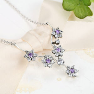 925 Sterling Silver Flowers Purple CZ Chain Necklace pictures & photos