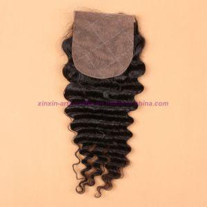 8A Human Hair Weave 3 Bundles Peruvian Deep Wave with Silk Base Closure Virgin Hair with Silk Base Closure pictures & photos