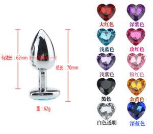 Aluminium Alloy Anal Plug with Heart Shape Diamond