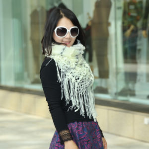 Ladies Fashion 2-Tone Acrylic Knitted Magic Poncho Shawl Scarf (YKY4623) pictures & photos