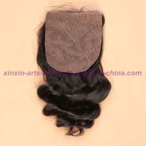 "8A Virgin Indian Loose Wave Silk Base Closure Natural Black Bleached Knots Middle/Free/3 Way Part 4X4"" Silk Top Closure pictures & photos"