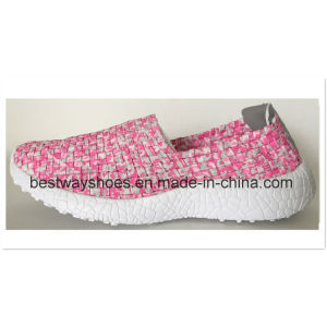 Colorful Lady Shoes Weave Shoe Slip-on Casual Shoe pictures & photos