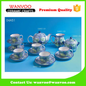 Hand Printing Ceramic Coffee Tea Set with 6 Cups 6 Saucers pictures & photos