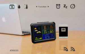 Rcc Weather Station Digital Clock with Outdoor&Indoor Temp&RF 3 Channels pictures & photos
